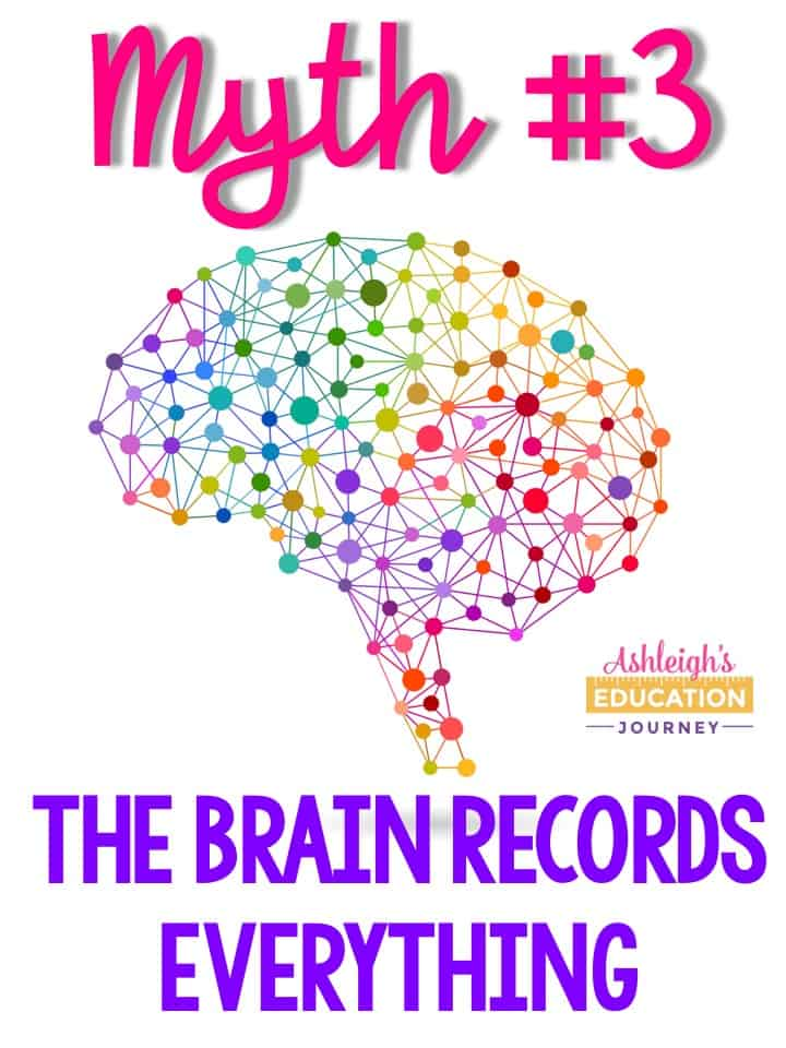 Brain research myth 3 - The brain records everything