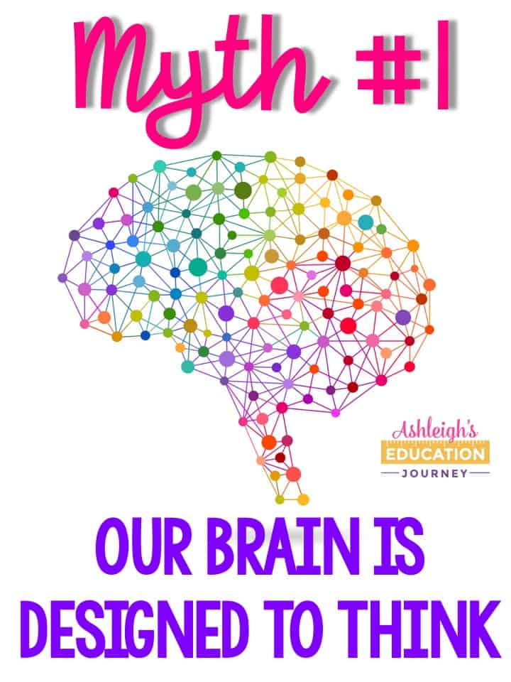 Brain research myth 1 graphic - Our brain is designed to think
