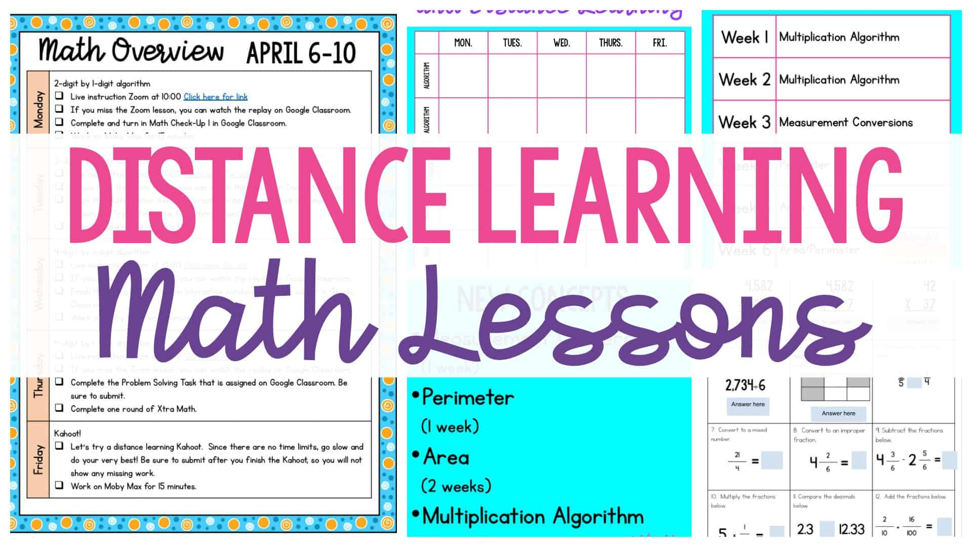 Teaching math through distance learning header with worksheets in the background.