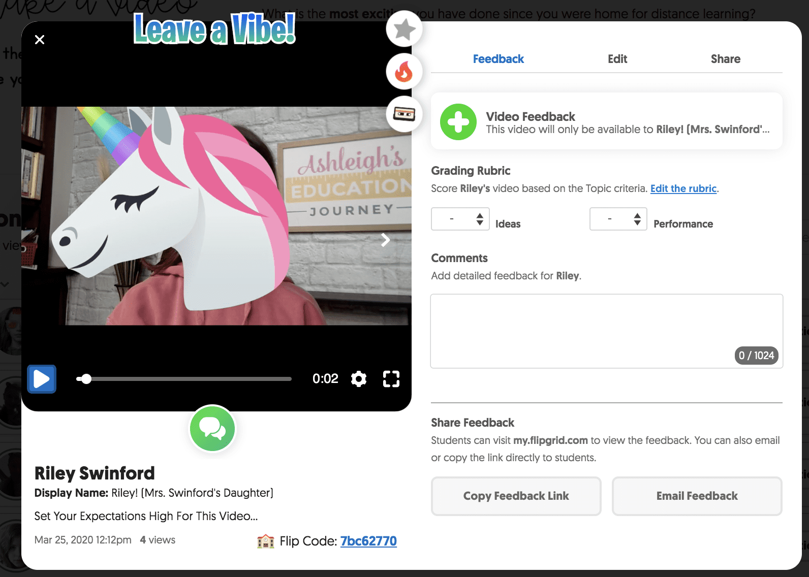Flipgrid screenshot of video feedback screen to encourage boosted classroom community