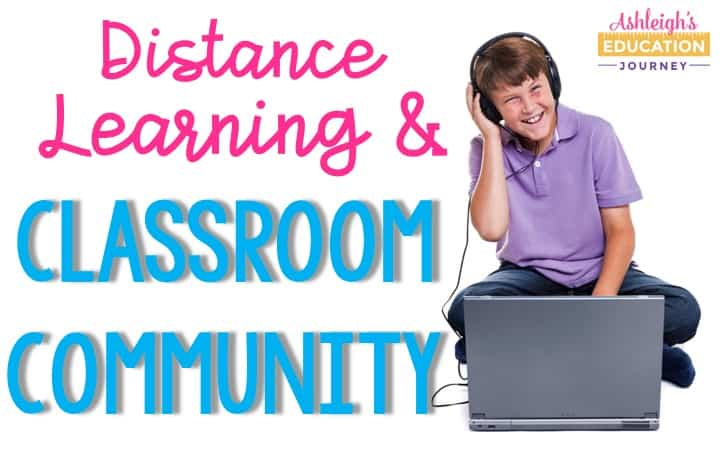 DIstance Learning & Classroom Community header with boy wearing headphones while sitting on floor in front of laptop computer
