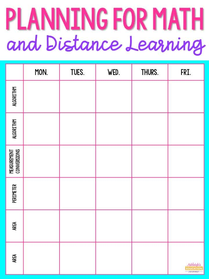 Planning for math distance learning grid-based sheet.