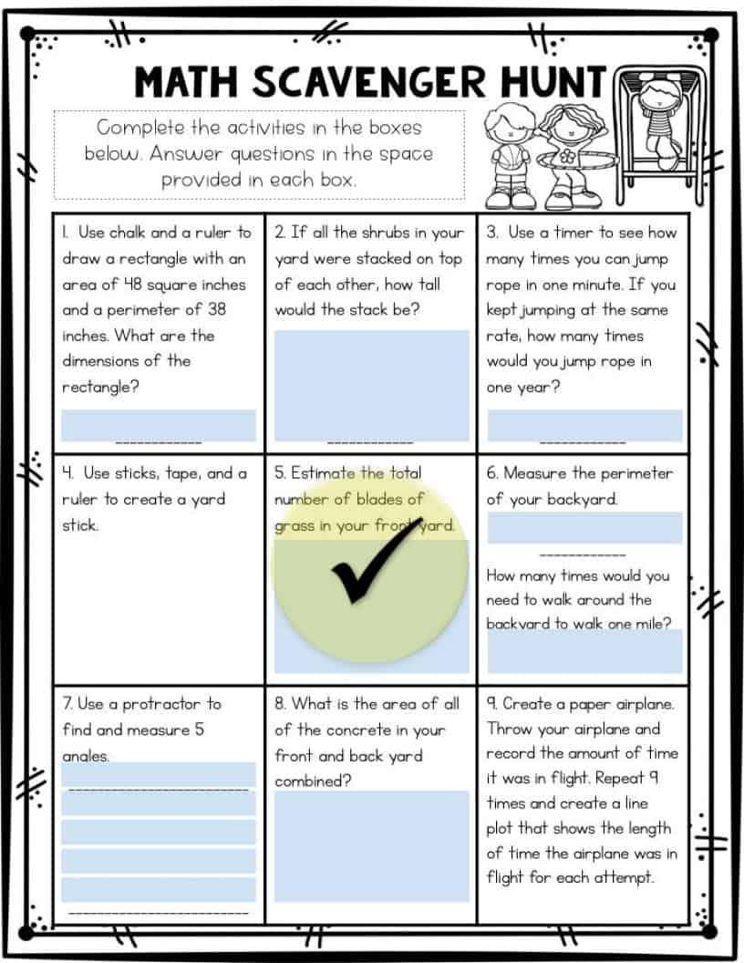 Math Scavenger Hunt worksheet for digital learning