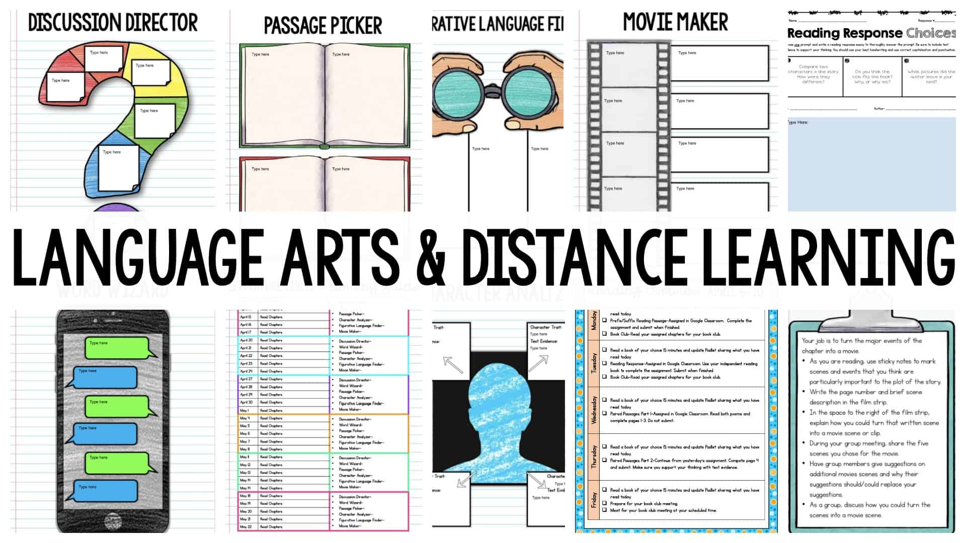 Language Arts & Distance Learning header with worksheets in the background