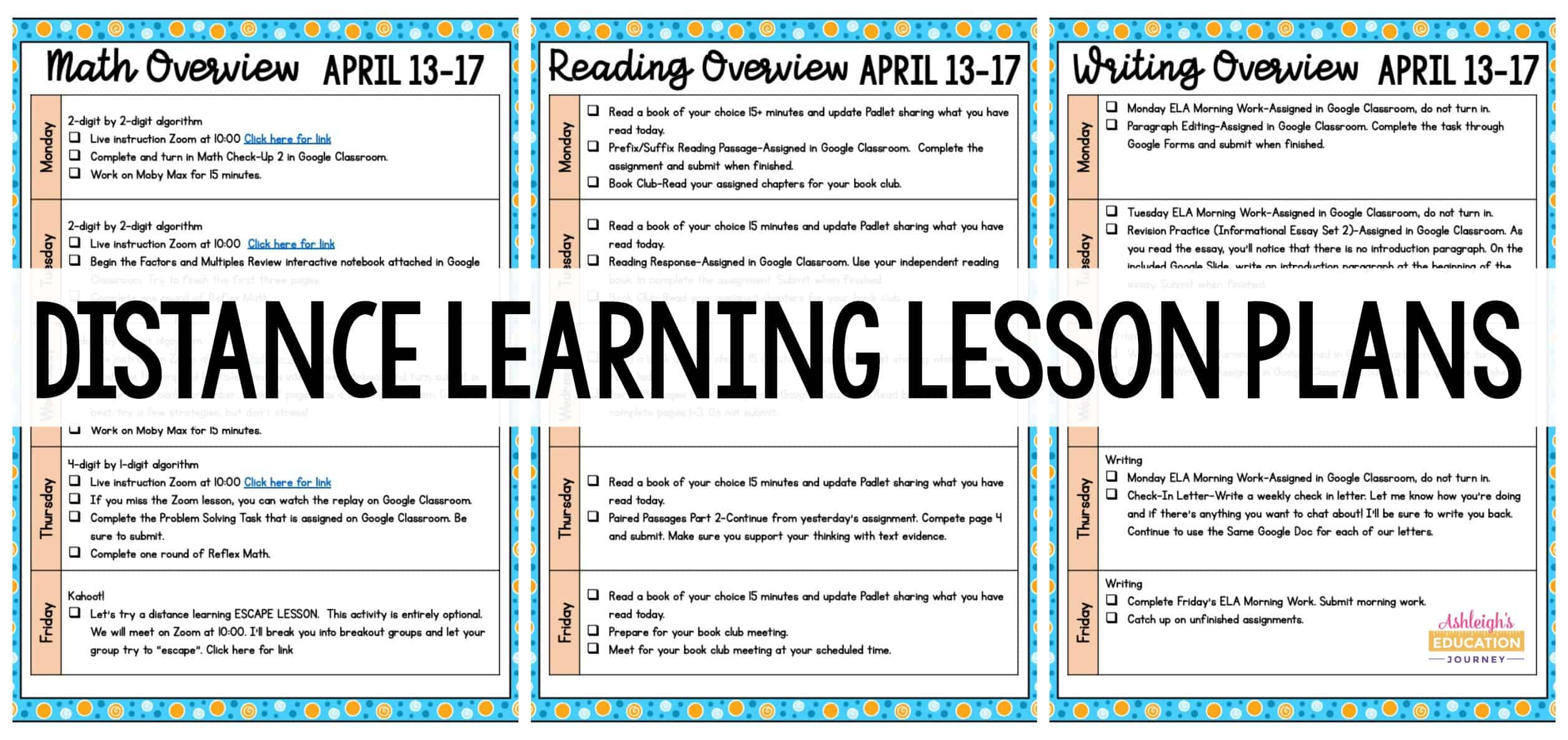 Distance Learning Lesson Plans header with worksheets in the background