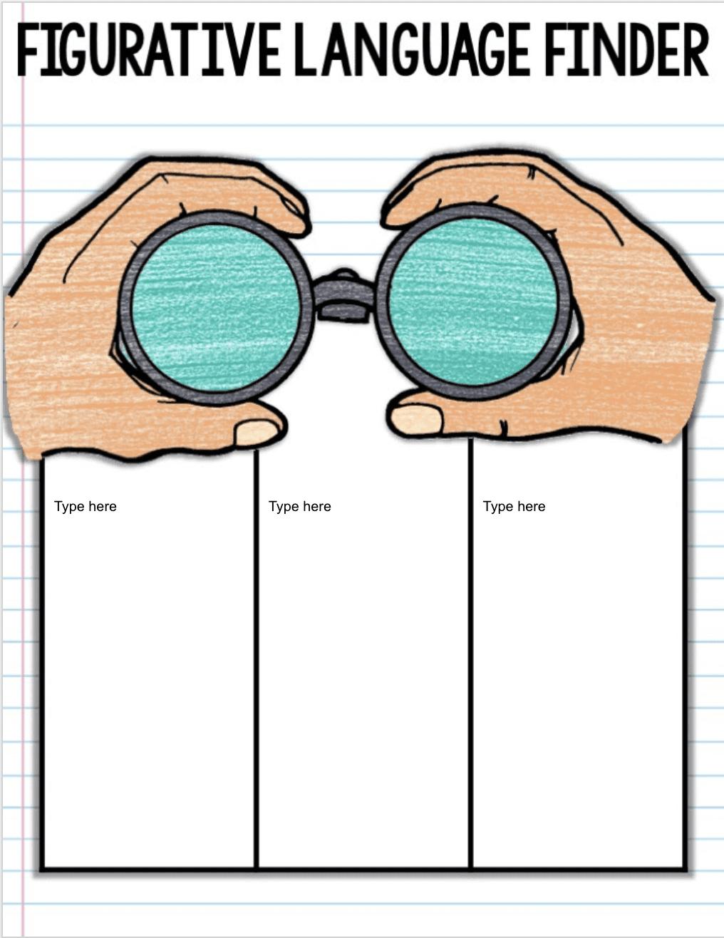 Language arts worksheet for Figurative Language Finder role