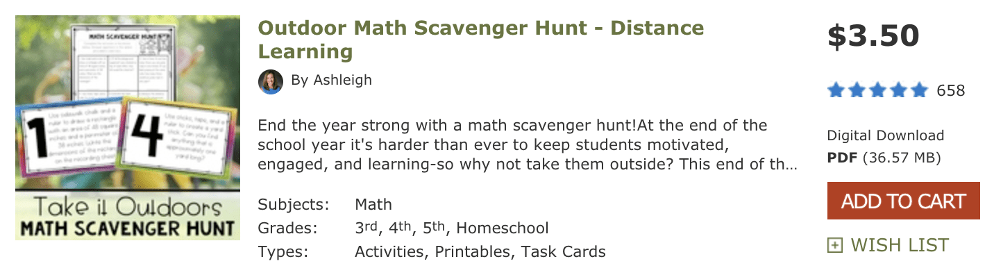 Product listing for an Outdoor Scavenger Hunt kit optimized for distance learning.