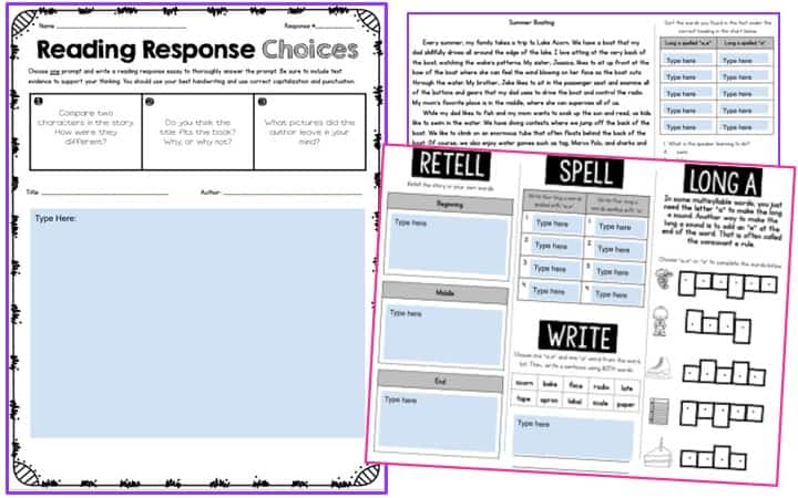 Reading Response Choices worksheet for distance learning