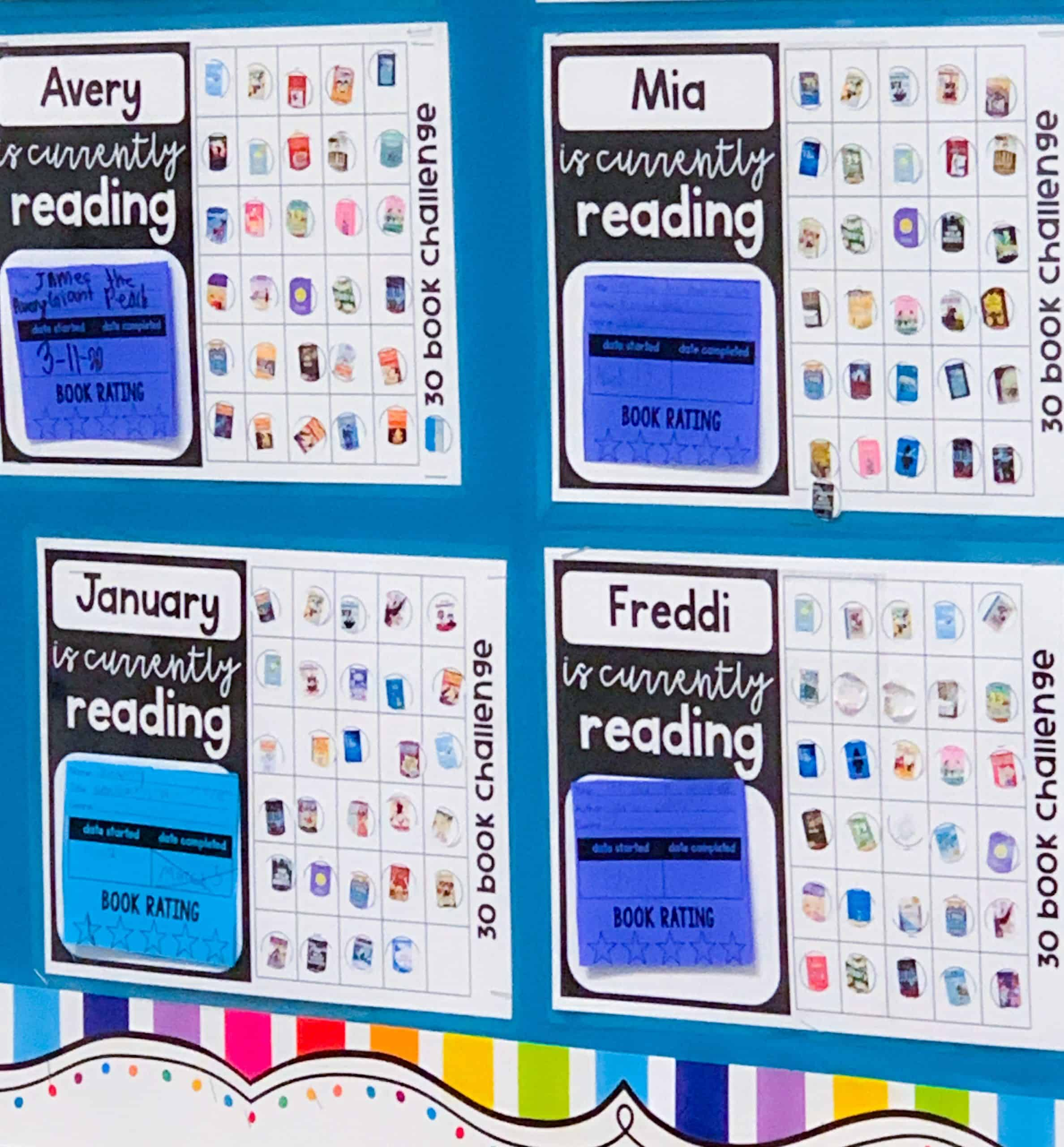 Grid-based accomplishment sheets to allow students to add round stickers to track reading accountability