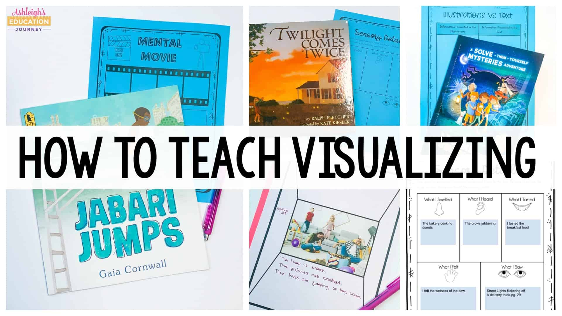 How to Teach Visualizing During Reading header with books and worksheets in the background