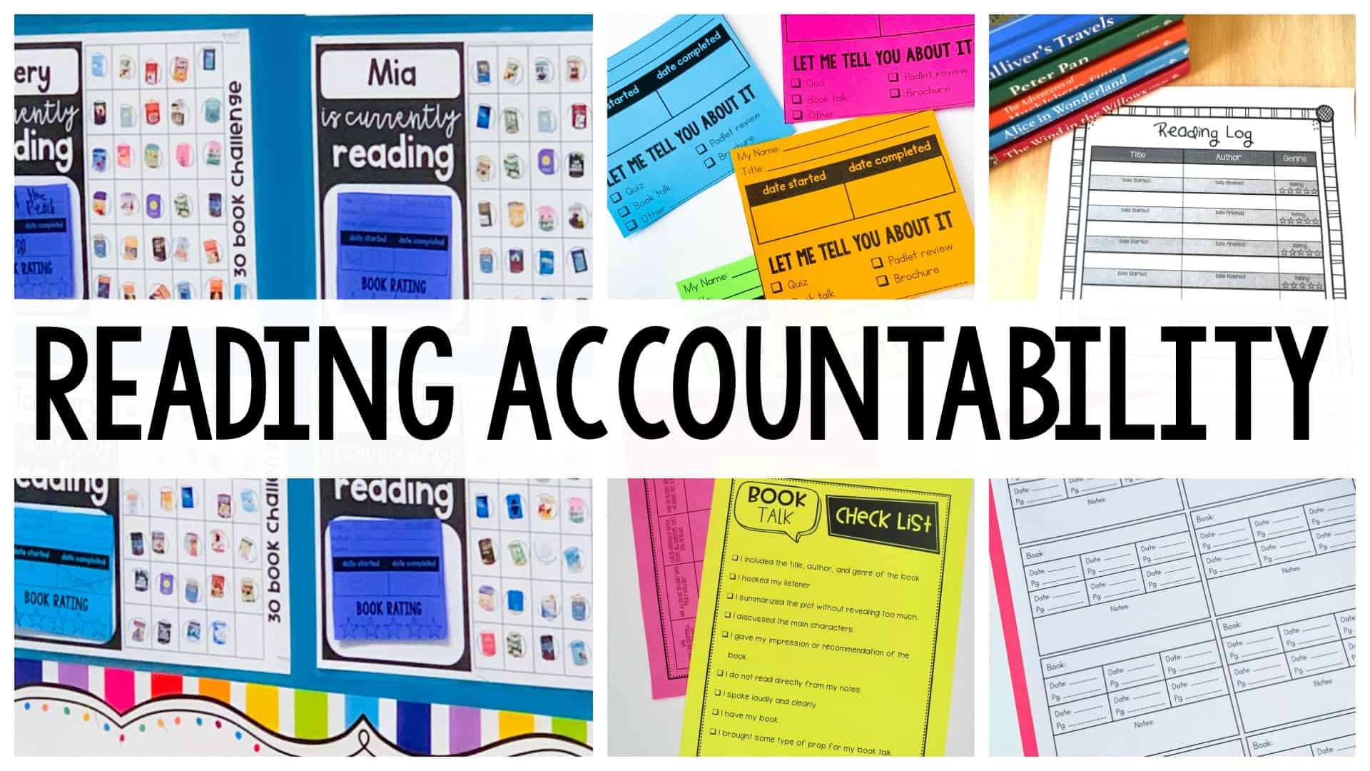 Reading Accountability header with reading worksheets in the background