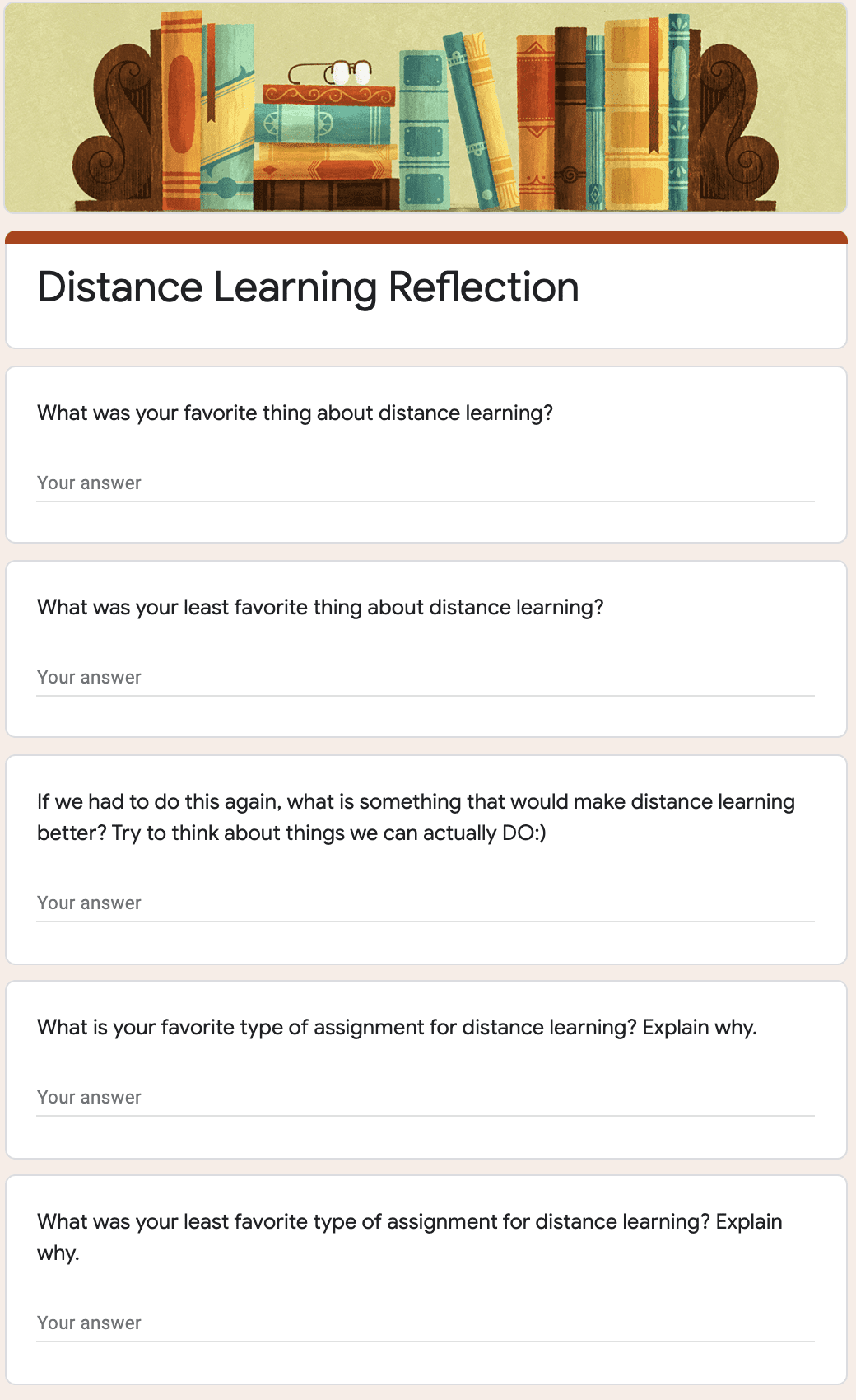 Distance Learning Self-Reflection Form Preview