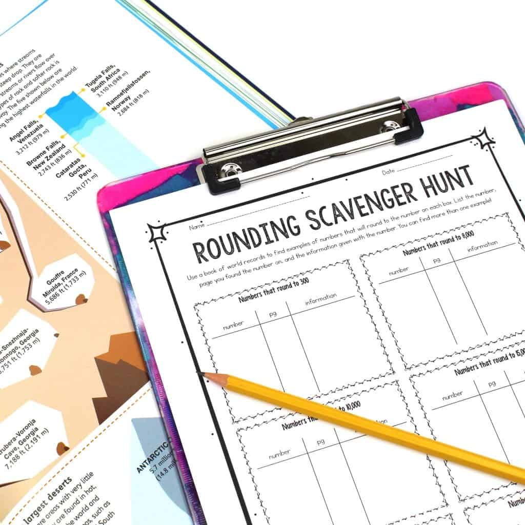 Image of a worksheet for a scavenger hunt to teach rounding to students