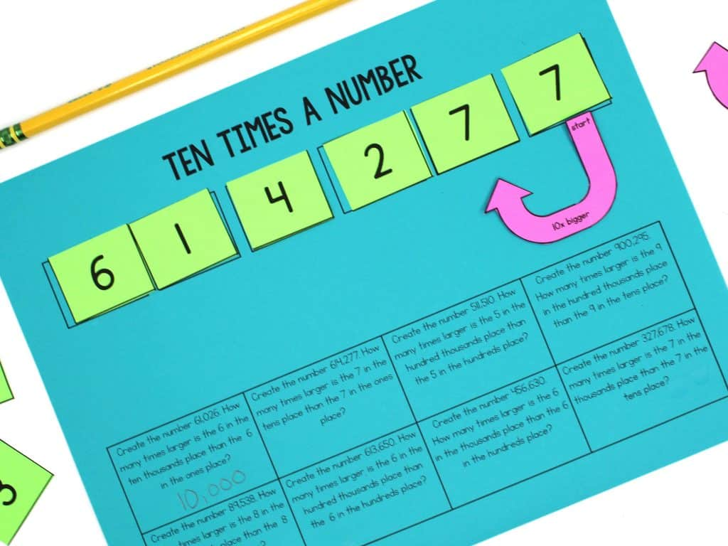 Ten times a number worksheet for teaching the value of digits