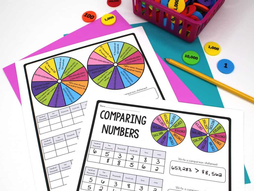 Colorful comparing numbers worksheets to help teach students the value of digits