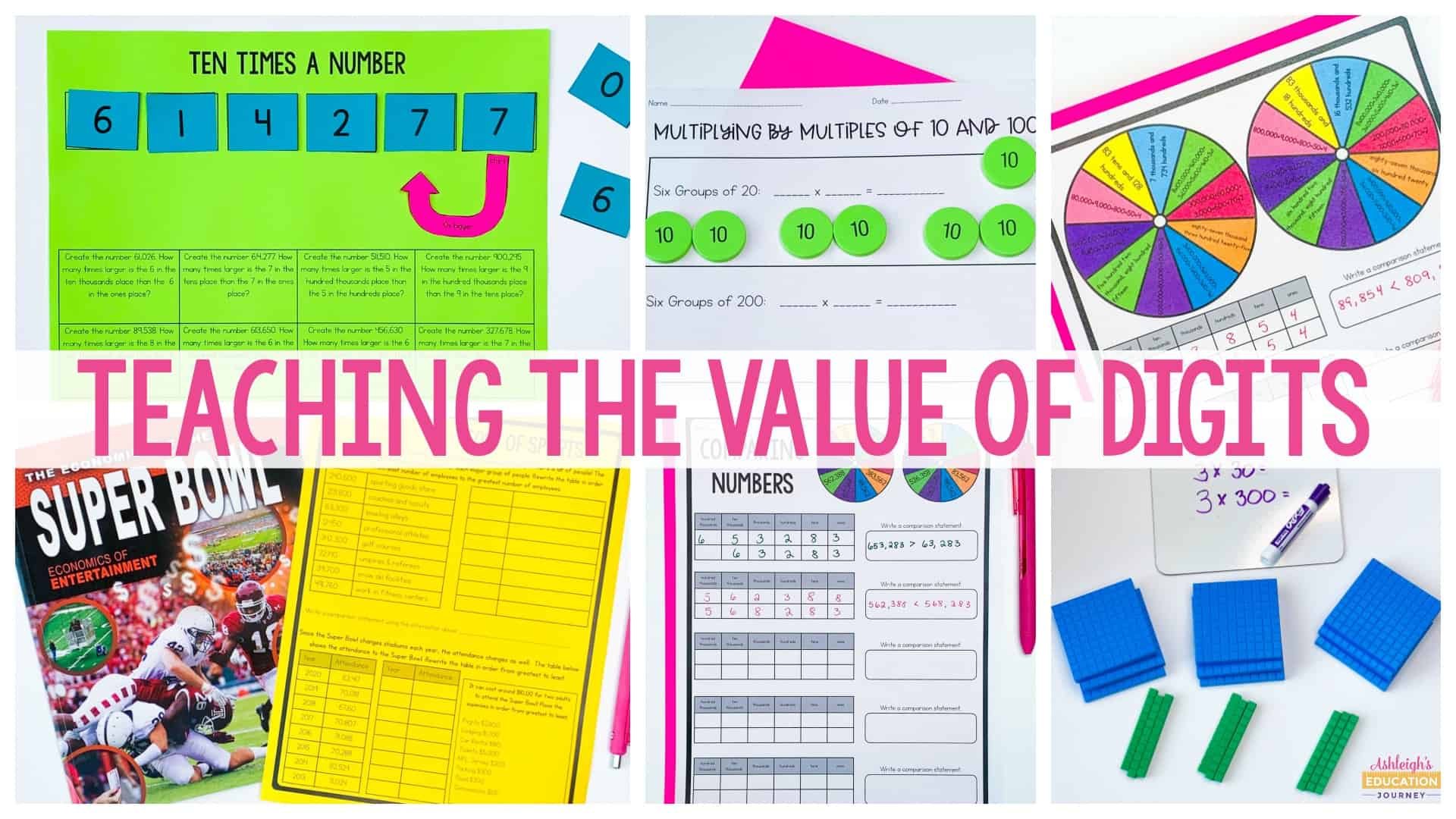 Teaching the Value of Digits header with worksheets in the background