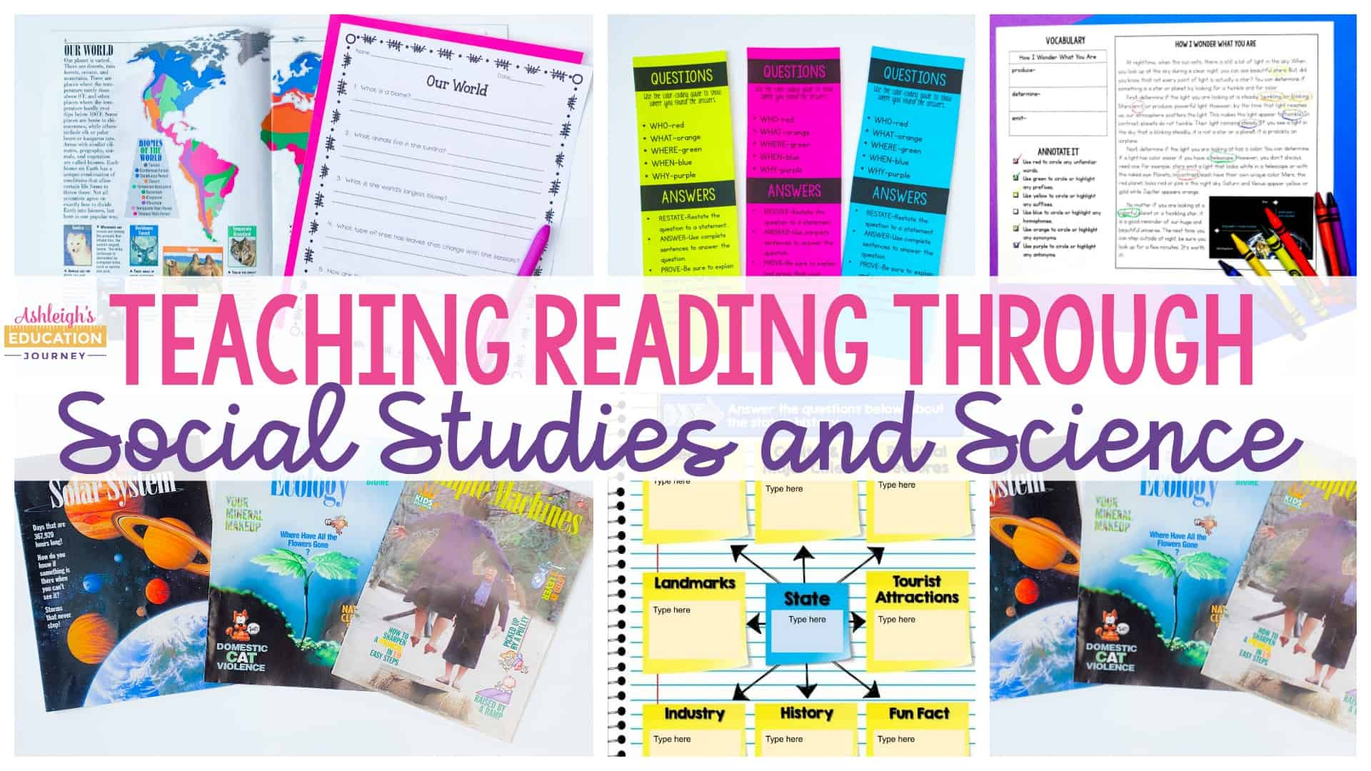 Teaching Reading Through Social Studies and Science header with books and worksheets in the background