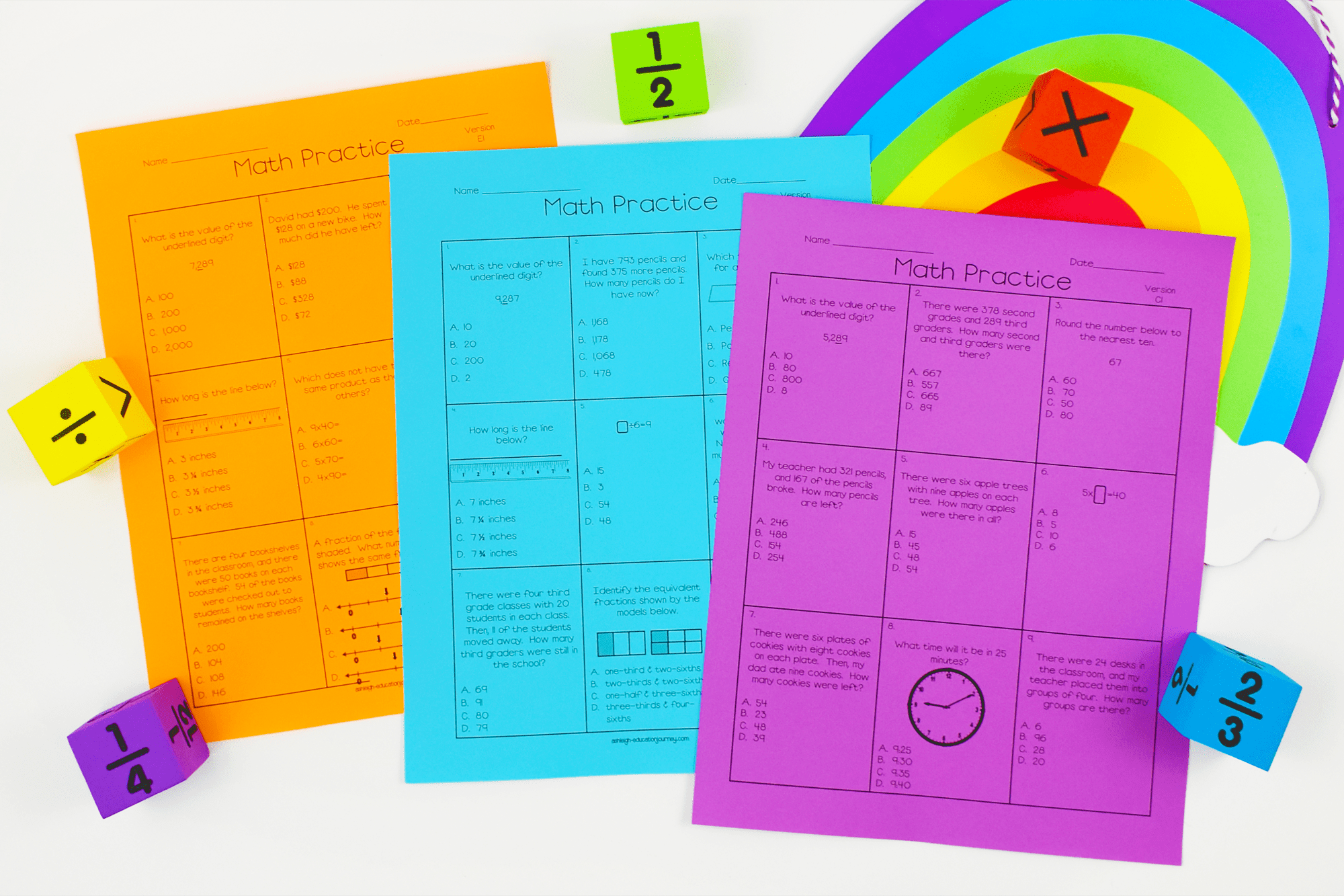 Colorful math practice worksheets on a white table