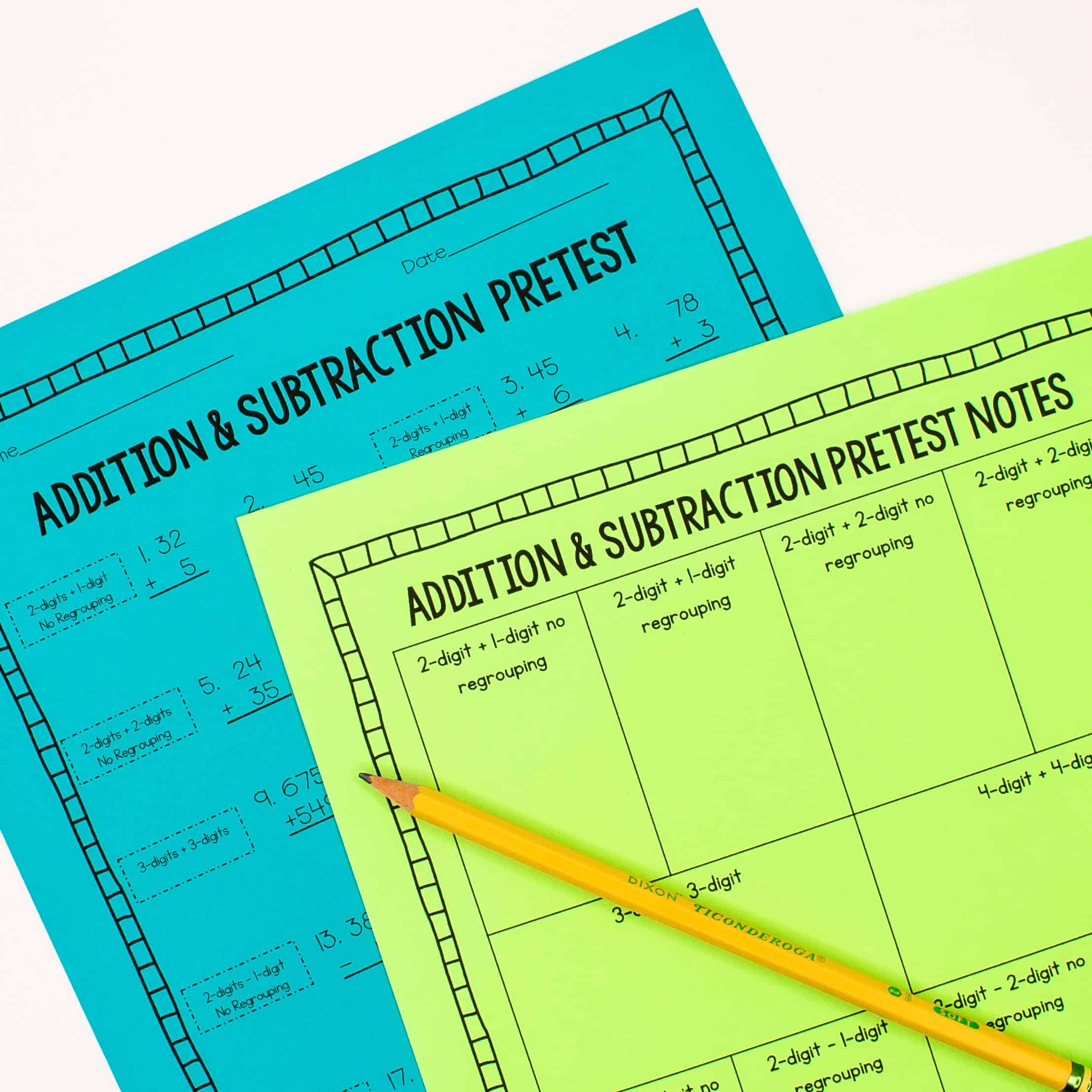 Addition and subtraction pretest worksheets on neon blue and neon green paper