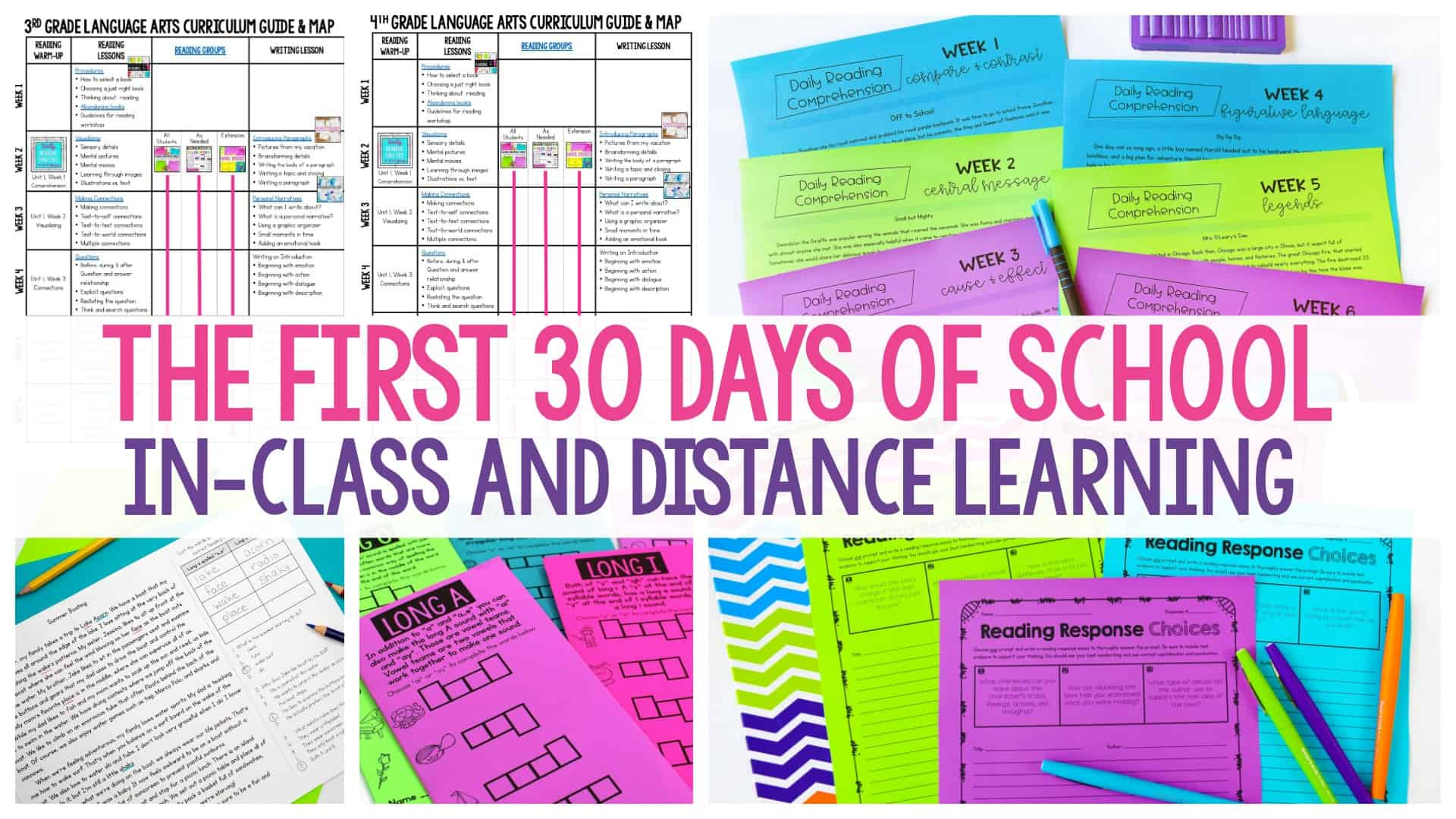 The First 30 Days of School In-Class and Distance Learning header with workwheets in the background