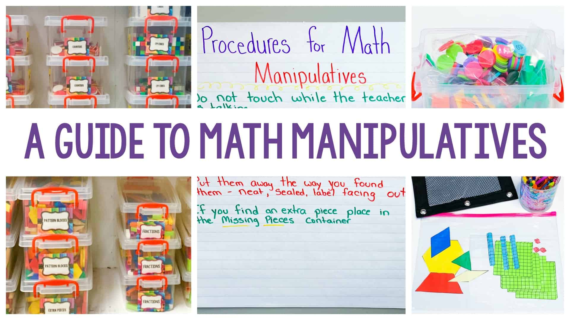 A guide to math manipulatives featured image featuring colorful objects to help teach math