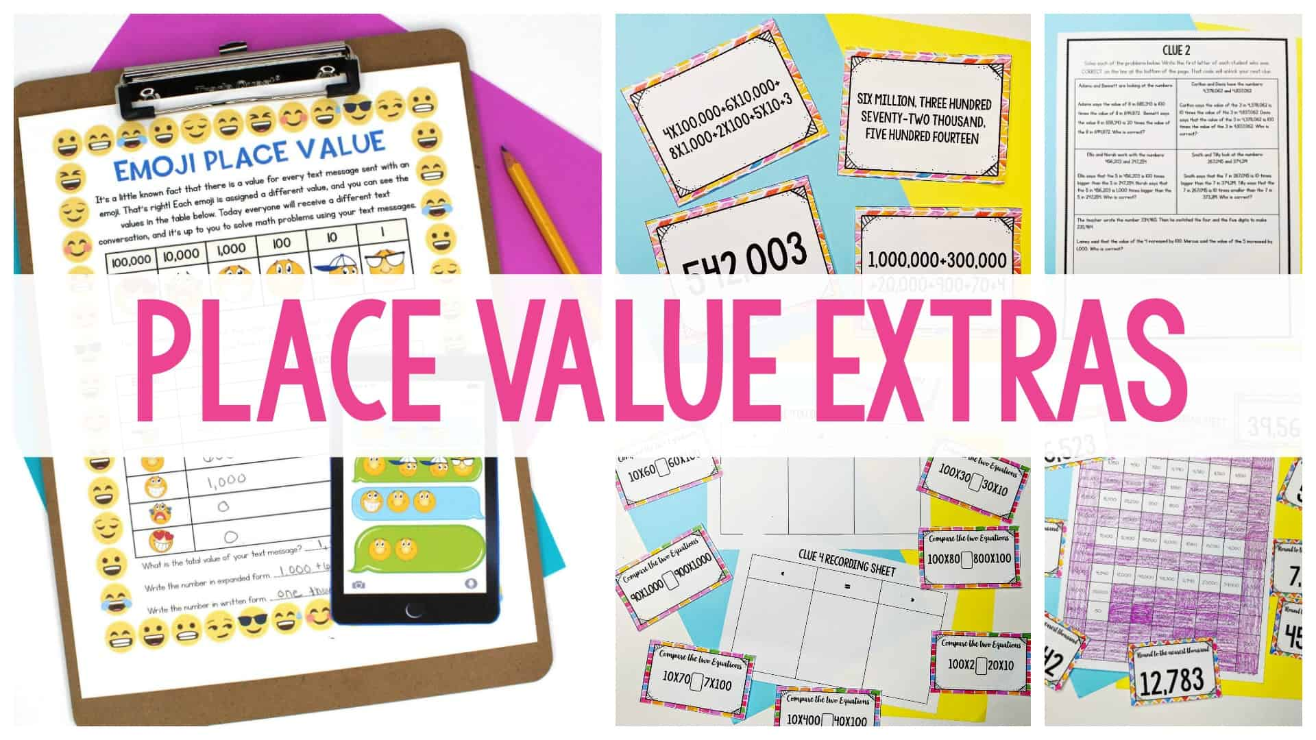 Place value extras header image with worksheets in the background