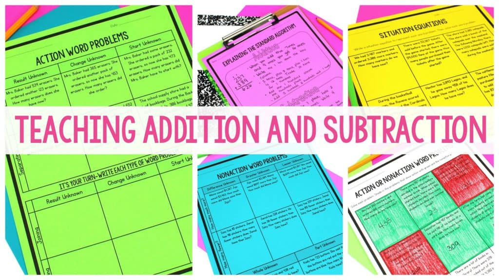 Teaching addition and subtraction featured image with neon-colored math worksheets in the background