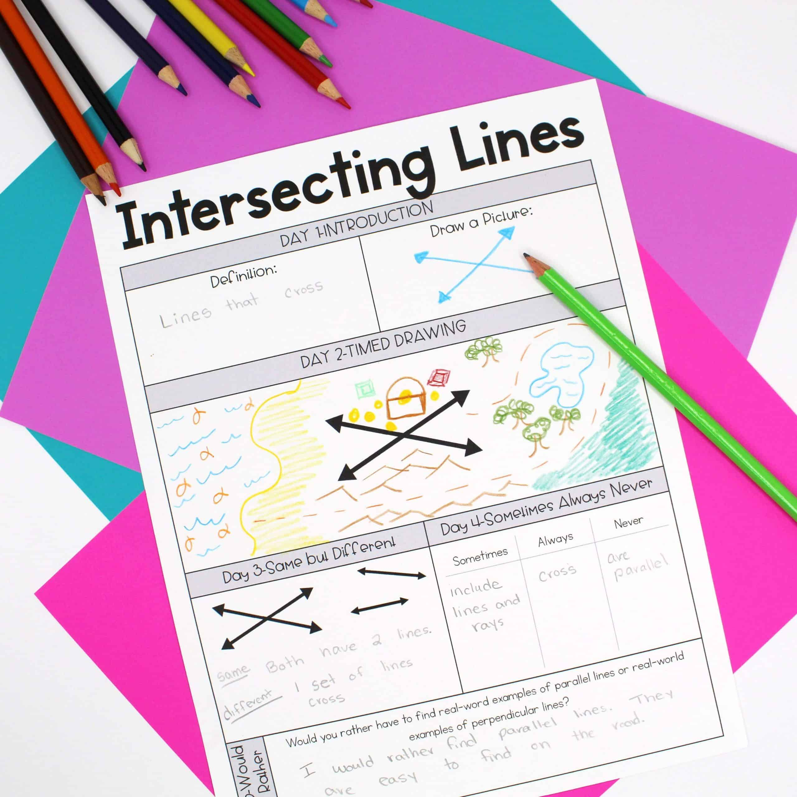 Daily instructional routines worksheet to help teach the definition of intersecting lines with different activities per day