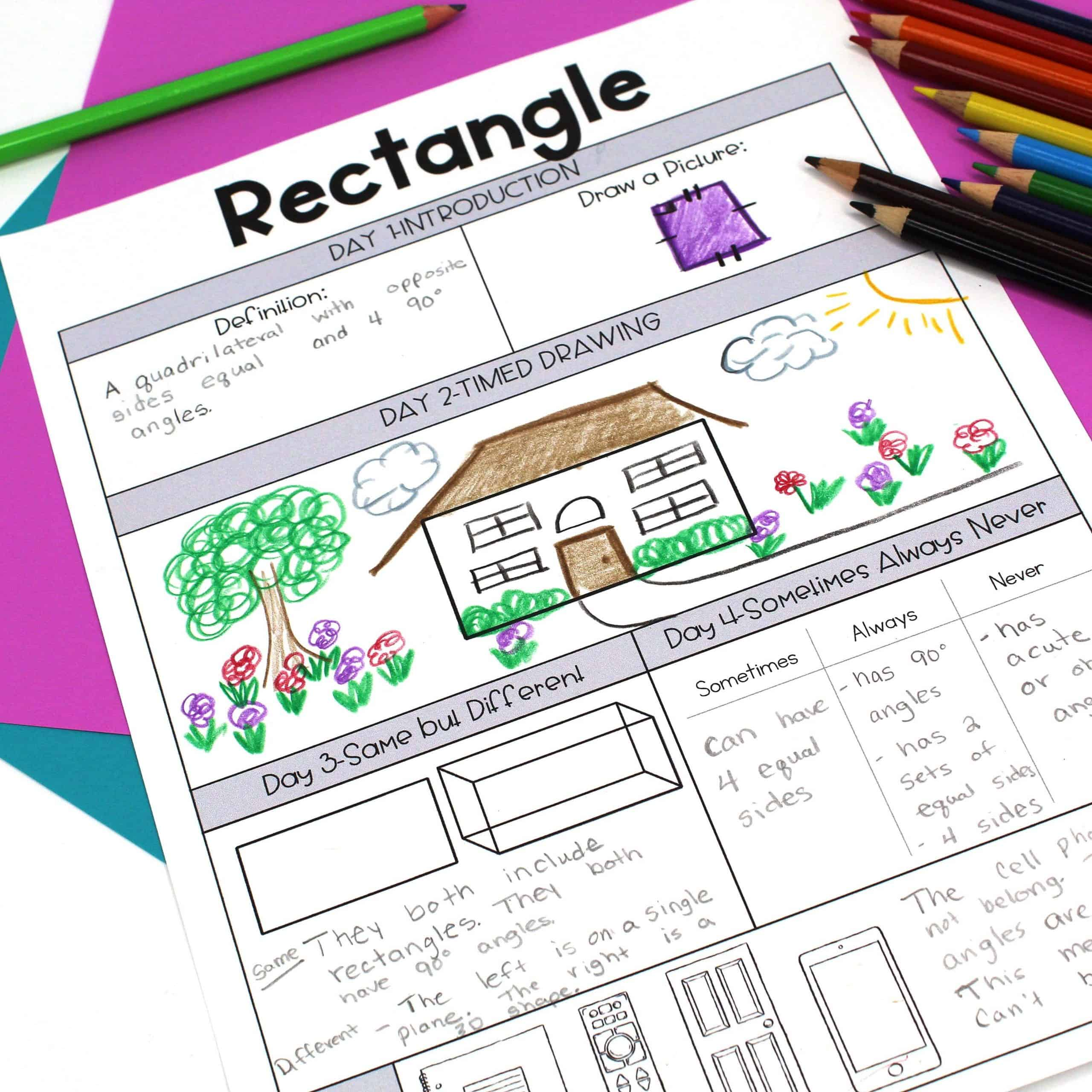 Daily instructional routines worksheet to help teach the definition of a rectangle with different activities per day