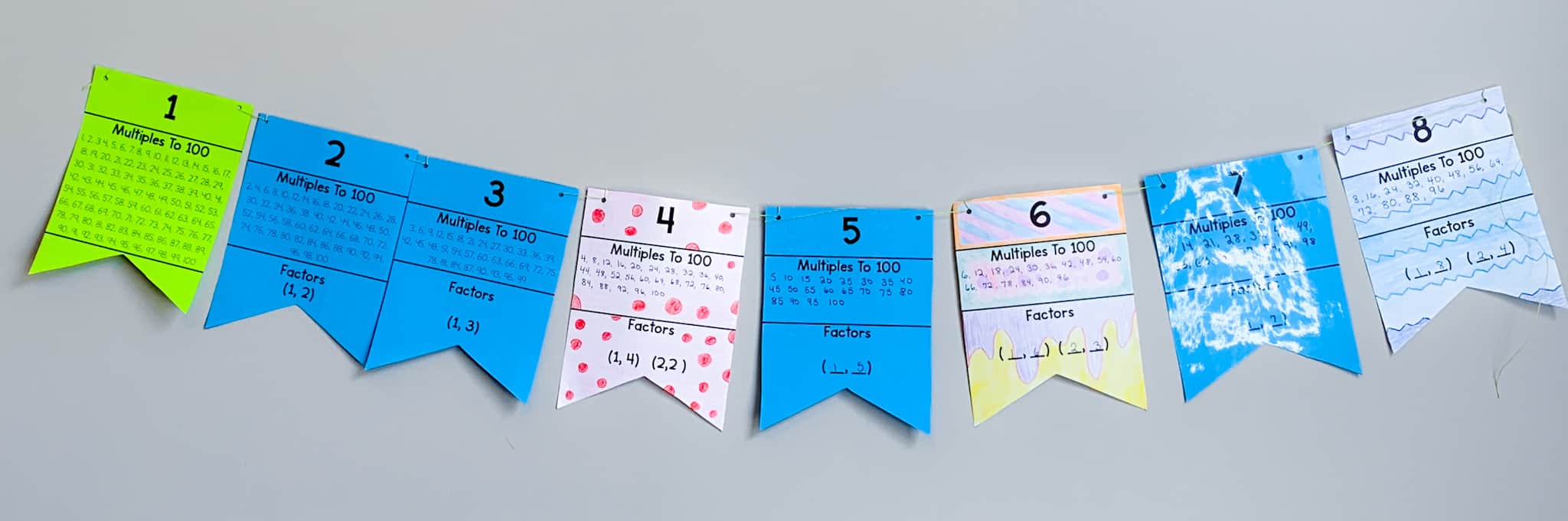 Multiple colorful paper banners to represent multiples and prime numbers