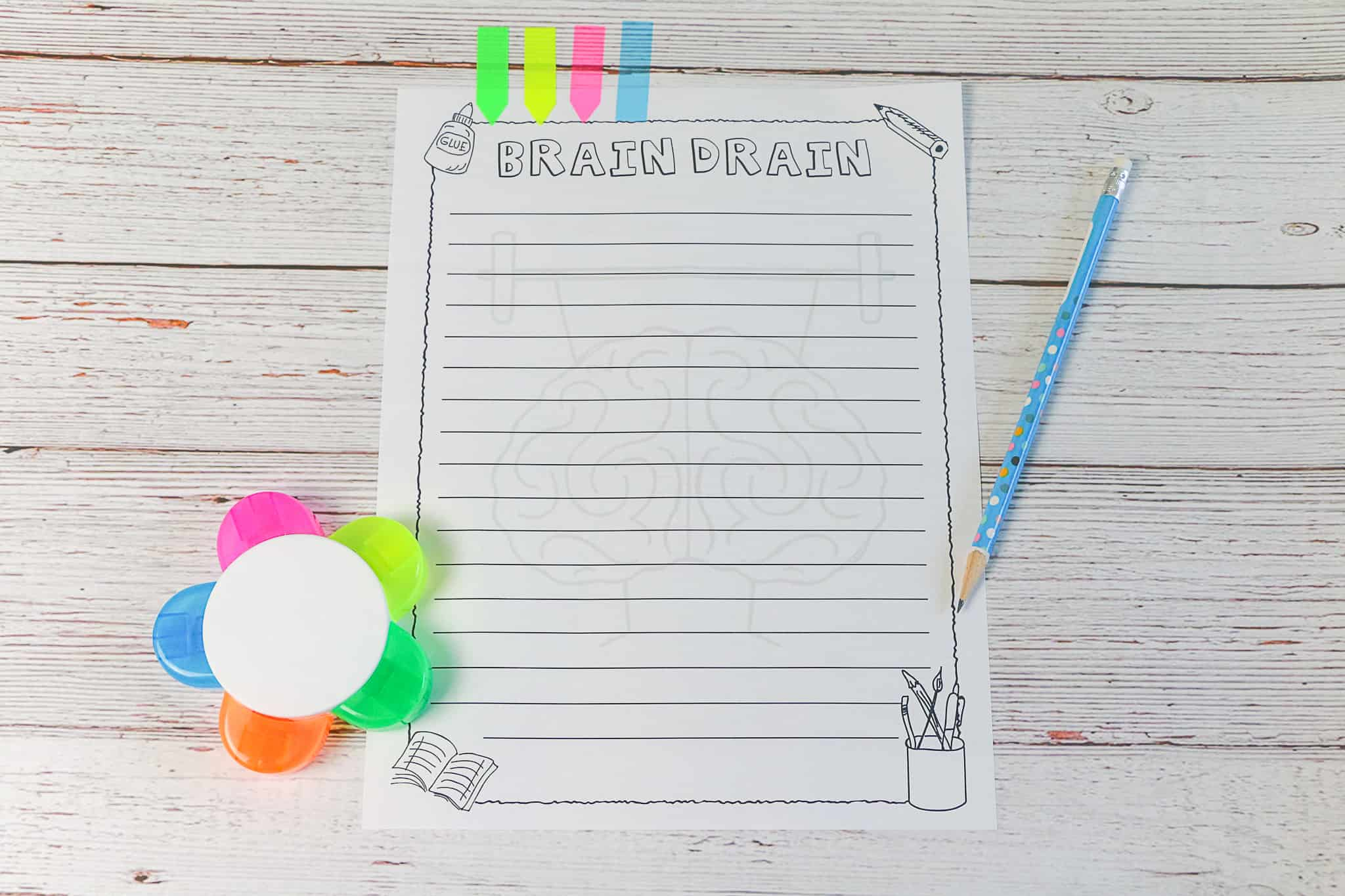 Brain Drain activity sheet to help students remember lessons