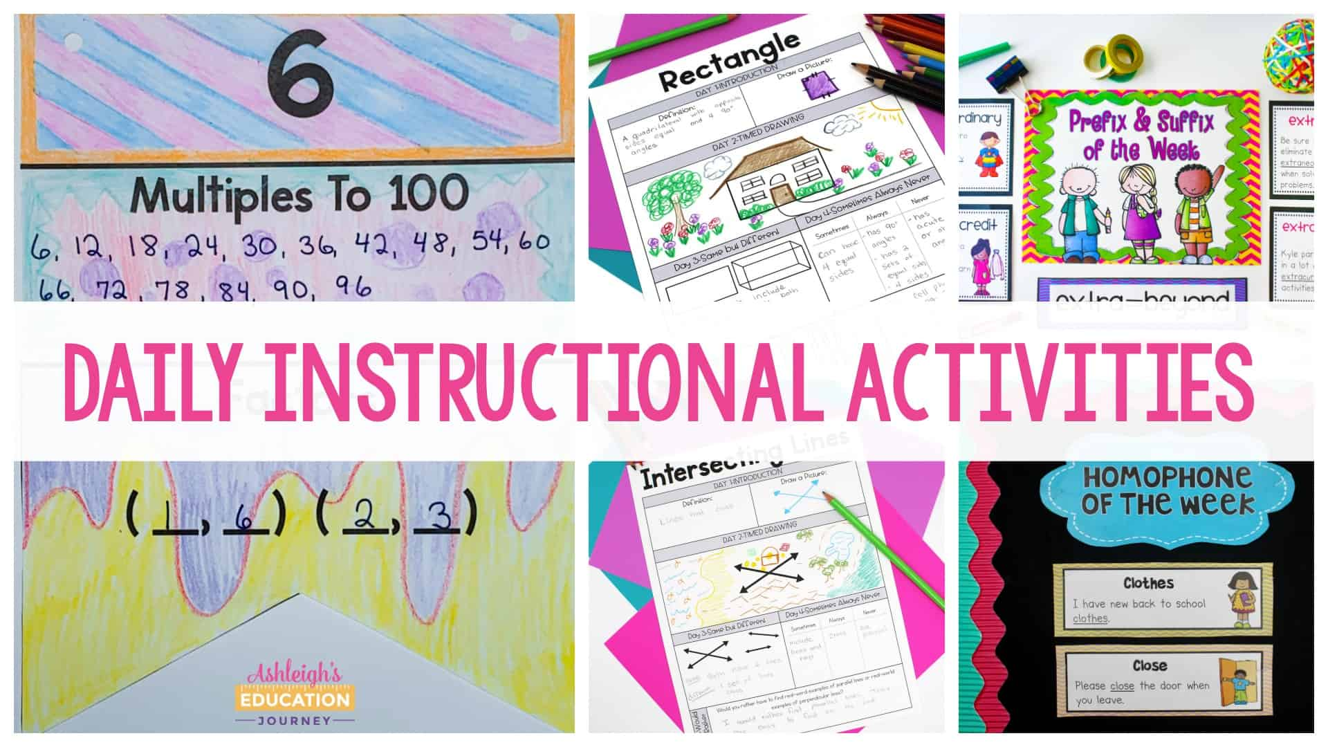 Daily instructional routines and activities header image previewing several student worksheets
