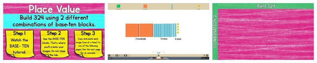 Preview image of place value worksheet and visualized blocks for counting