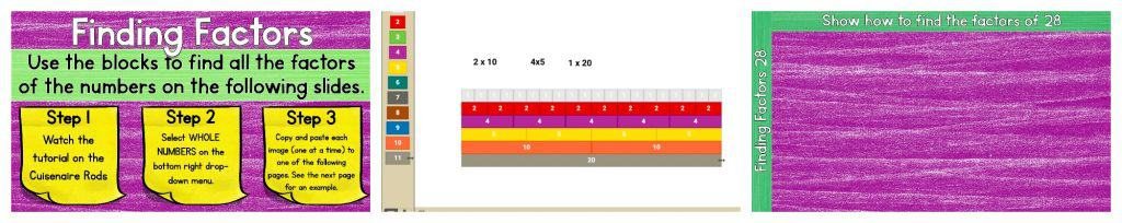 Summary image re-iterating Finding Factors steps and Cuisenaire Rods visual