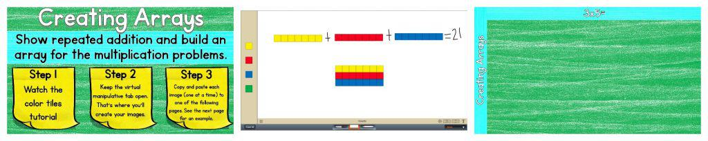 Summary of previous images for Creating Arrays and using addition to learn multiplication