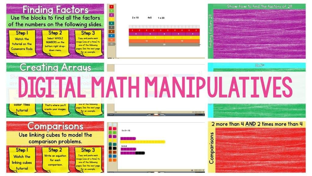 Digital Math Manipulatives header image featuring previews of worksheets