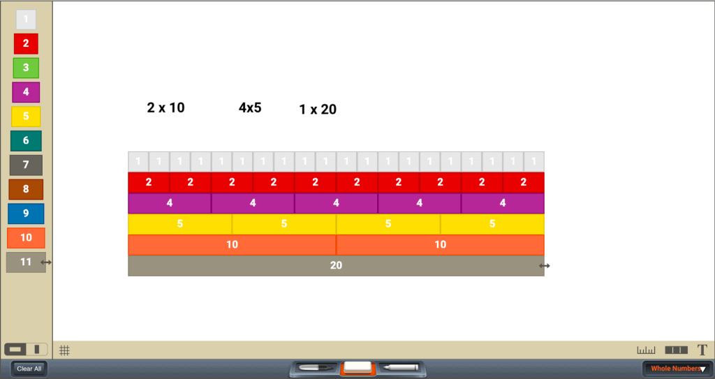Cuisenaire Rods app screenshot visually displaying multiples in rows of increasingly-larger multiples