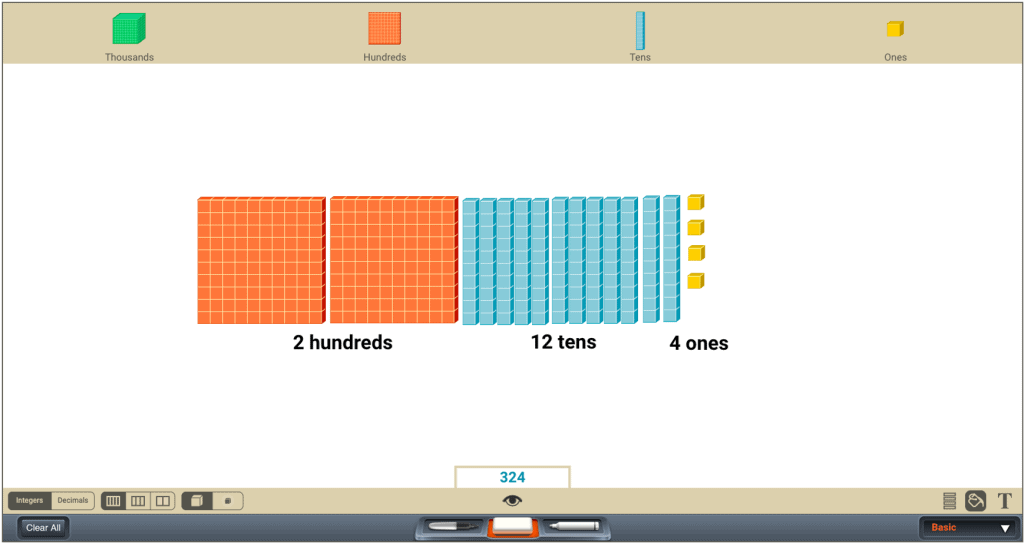 Math learning app screenshot displaying colored block groups to represent hundreds, tens, and ones