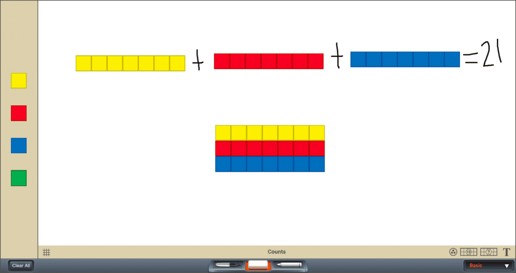 App screenshot to visualize addition as a means to learning multiplication with three 7-block bars that add up to 21