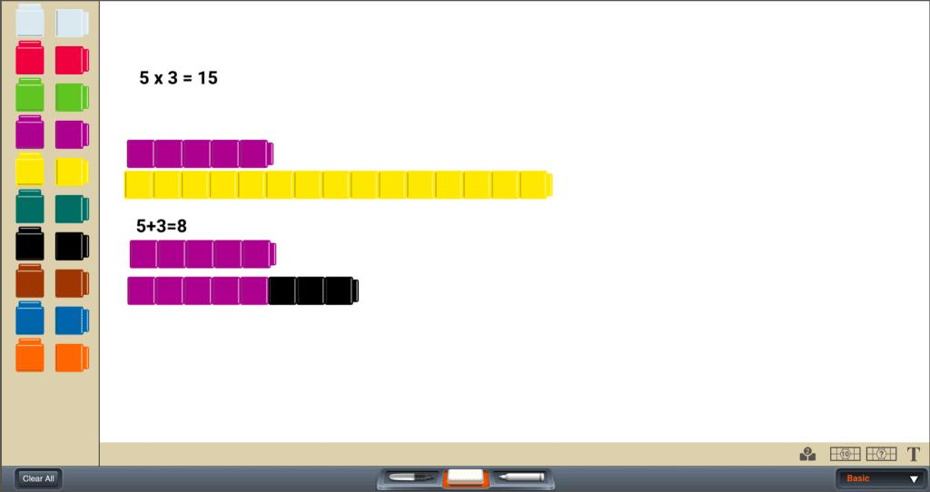 App screenshot showing multiple combinations of colored blocks to illustrate digital math manipulatives