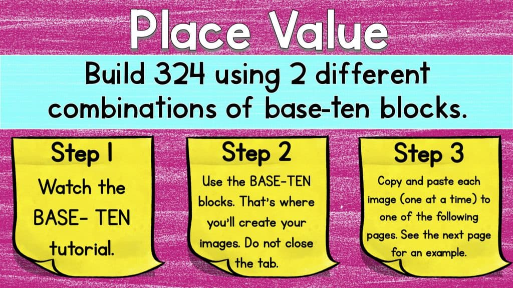 Digital math manipulatives worksheet teaching place value