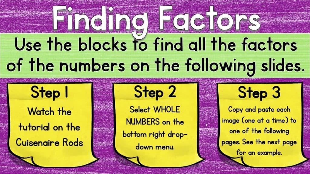 Digital math manipulatives worksheet titled Finding Factors, detailing steps on using blocks to discern factors