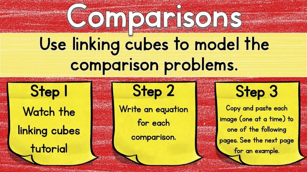Digital math manipulatives worksheet for Comparisons, detailing steps to link cubes to model comparison problems