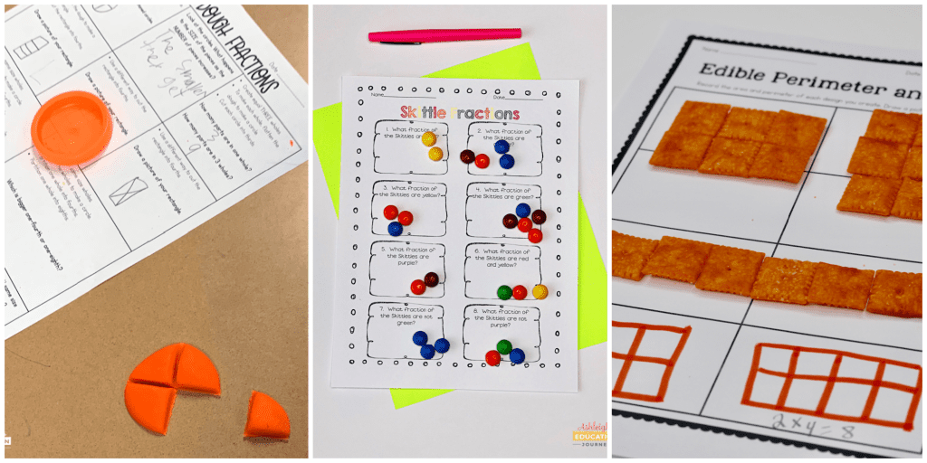 Math engagement-boosting worksheets featuring Play-doh, colorful candy, and cheese crackers as edible manipulatives