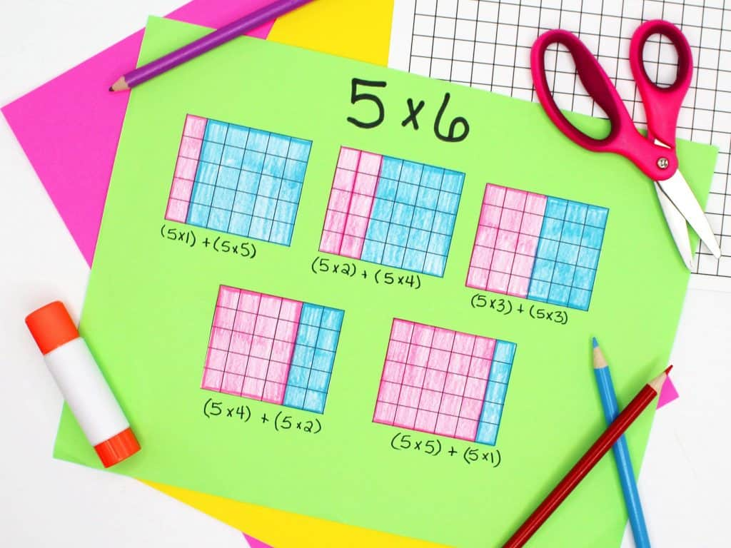 Multi-digit multiplication worksheet focused on 5 x 6 with color-coded grids