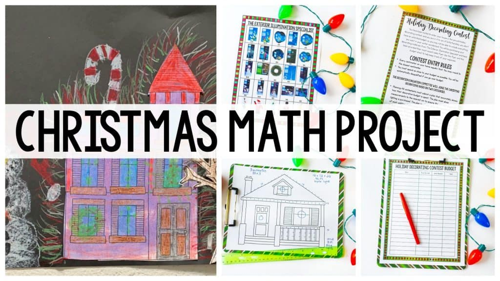 Christmas Activities: Christmas Math Project image with writing and drawing activities in the background.