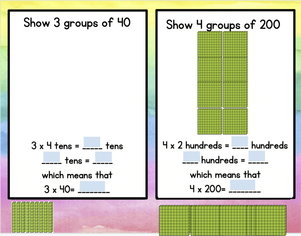 Worksheet with illustrations of colored block manipulatives to help teach multi-digit multiplication
