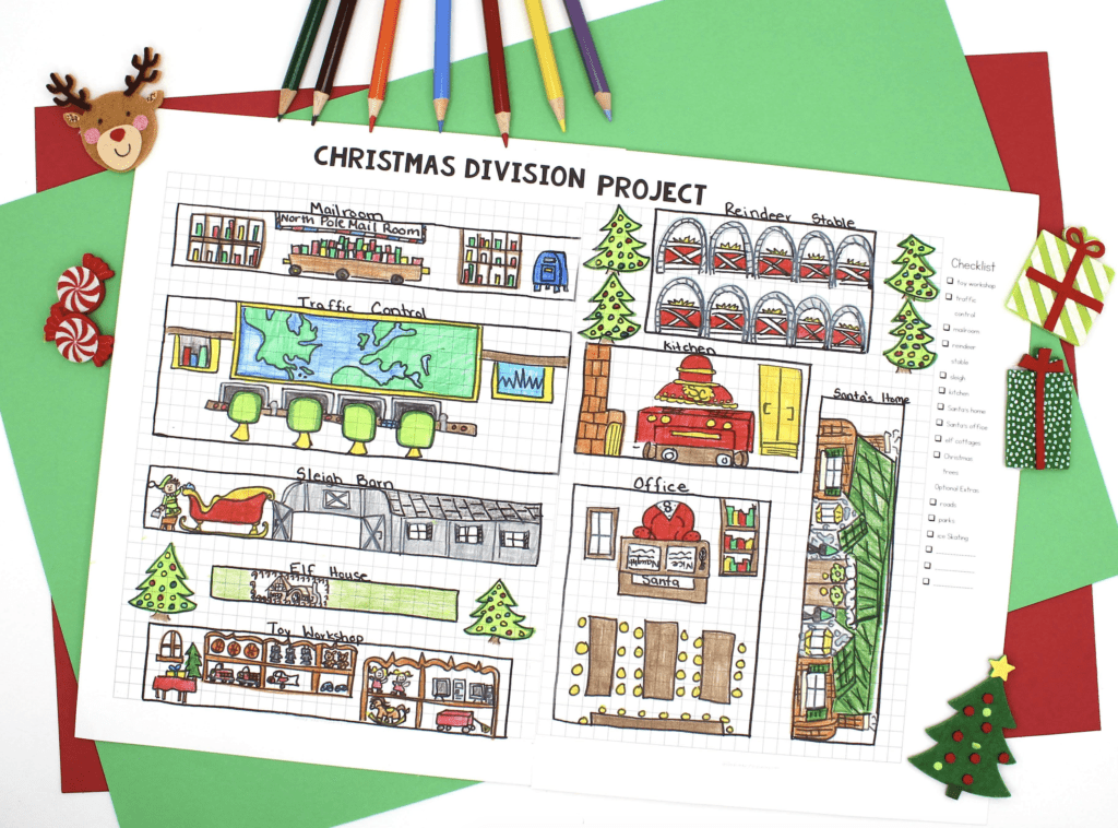 Christmas Resources: Christmas Division Project worksheet with colored pencils nearby.