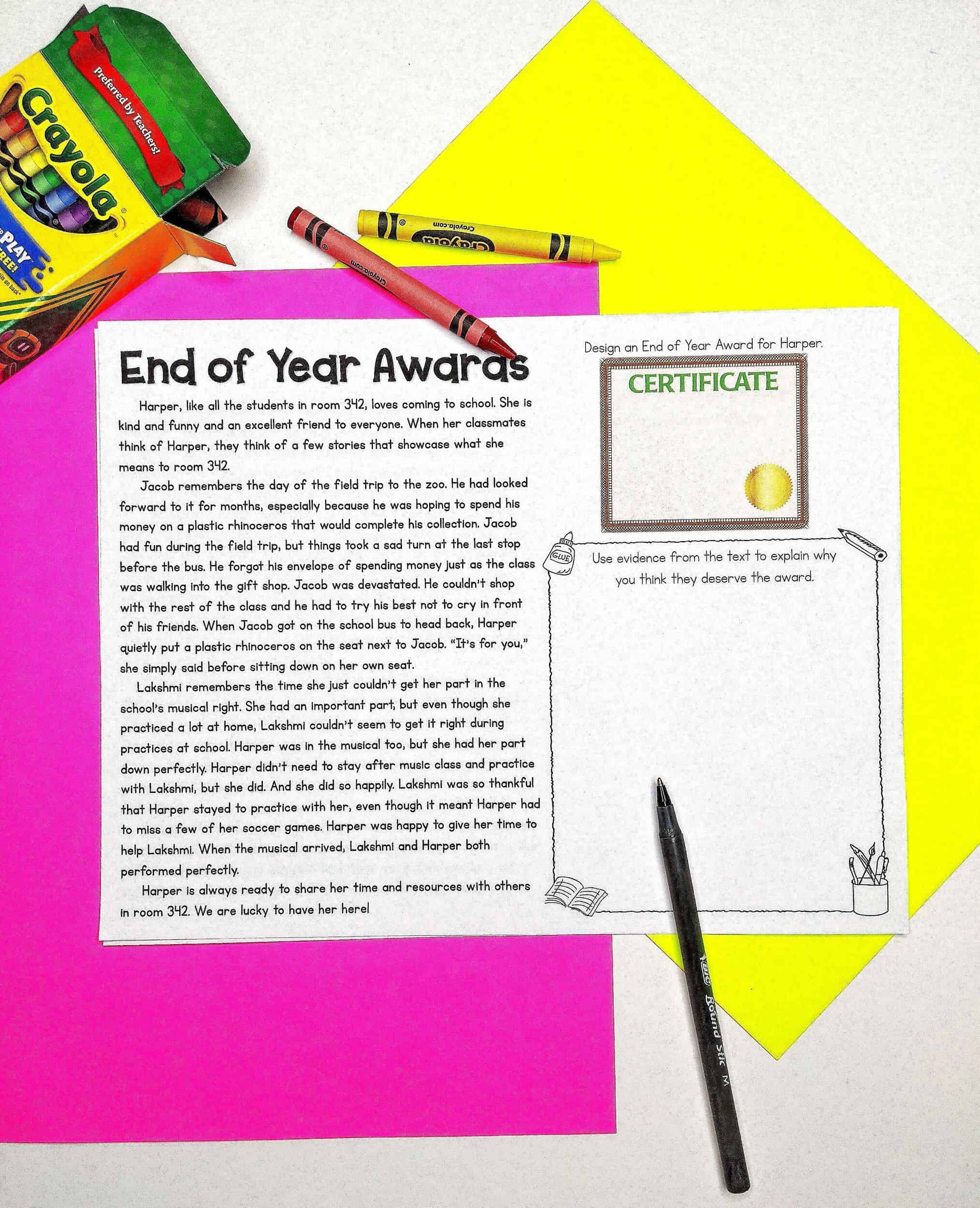 End of Year Awards Activity Sheets 3
