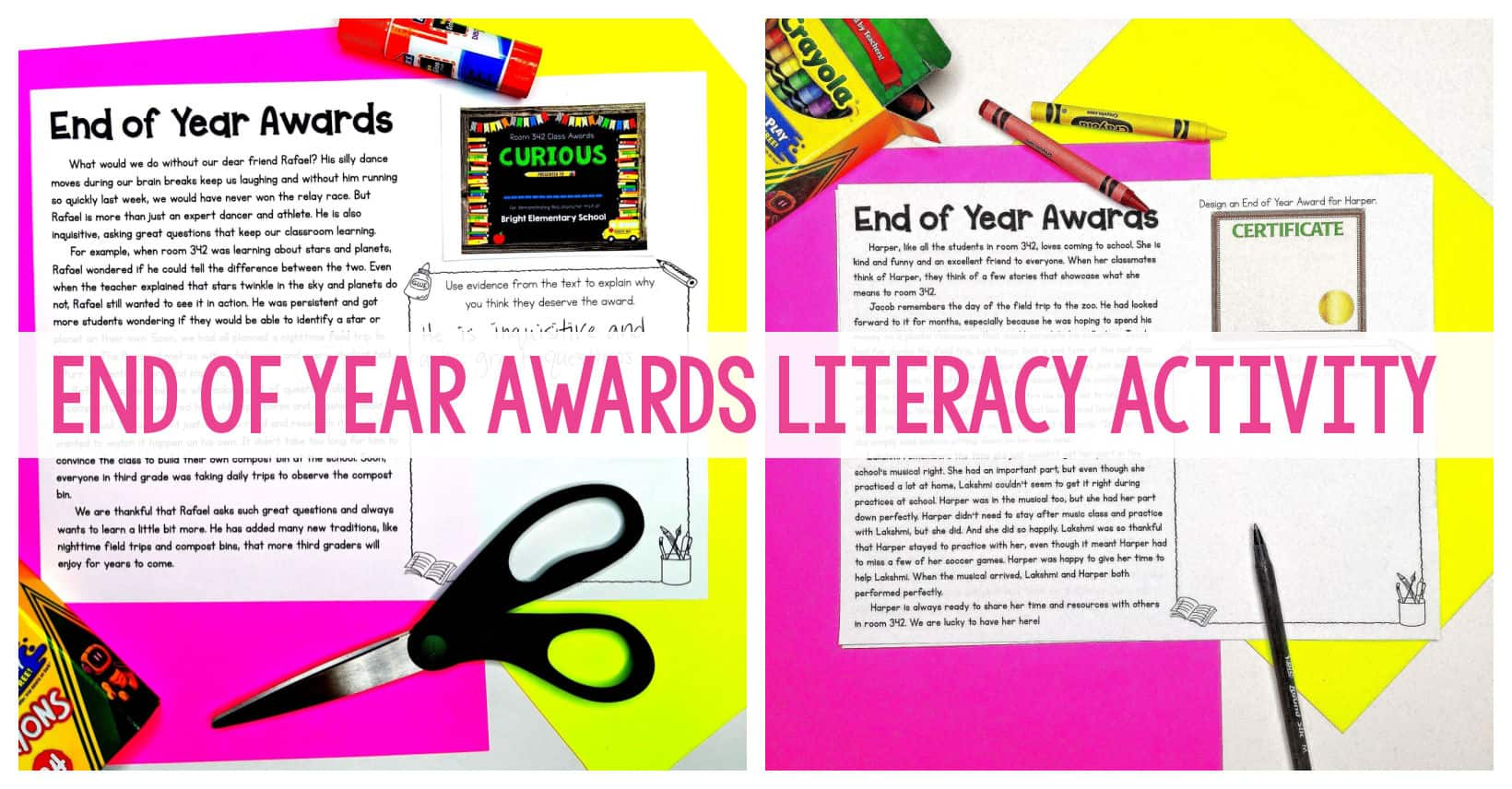 End of Year Awards Literacy Activity